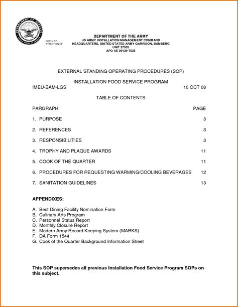 dod sop template sop template exle pictures to pin on