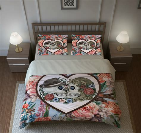 skull bed set skull bedding sugar skulls duvet cover set forever