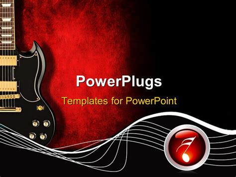 Powerpoint Template Black Guitar With Music Waves And Symbol On Red And Black Background 15297 Guitar Powerpoint Template