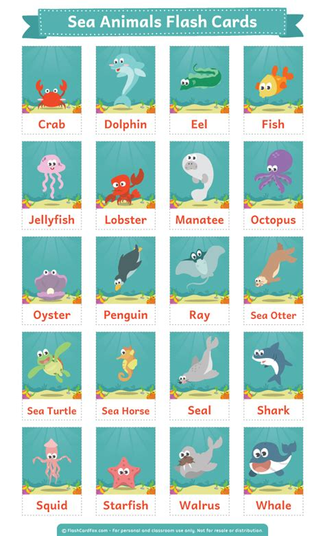 ocean animal flashcards printable sea animals flash cards