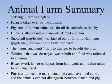 biography george orwell summary animal farm summary setting farm in england ppt video
