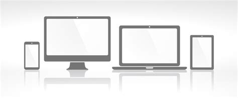 laptop with monitor and tablet prototype vector template