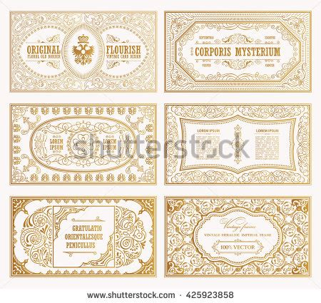 vintage place cards template vintage set retro cards template greeting stock vector