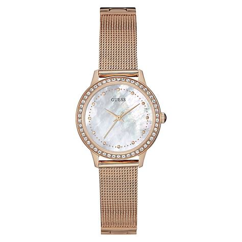 guess gs1307 combi rosegold guess gold plate of pearl mesh