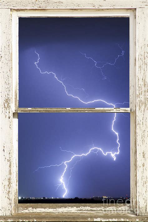 lightning strike white barn picture window frame photo art