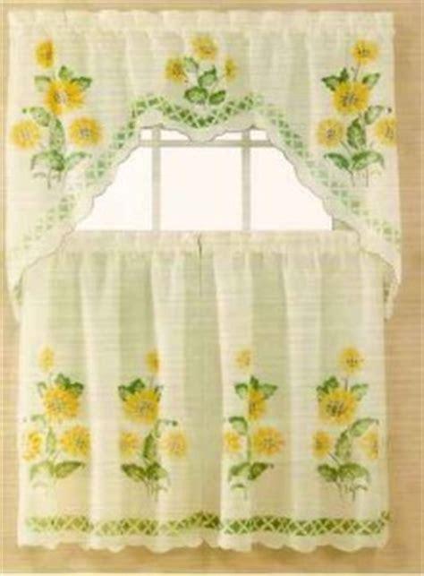 Sunflower Valance Kitchen Curtains Nip Set Sunflower Swag Valance And Kitchen Curtains