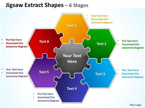 Jigsaw Extract Shapes 6 Stages Powerpoint Diagrams Presentation Slides Graphics 0912 Jigsaw Ppt