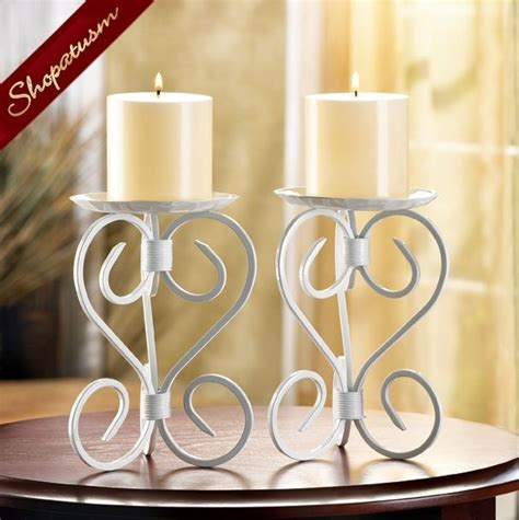 2 wrought iron white cathedral candle holders centerpieces