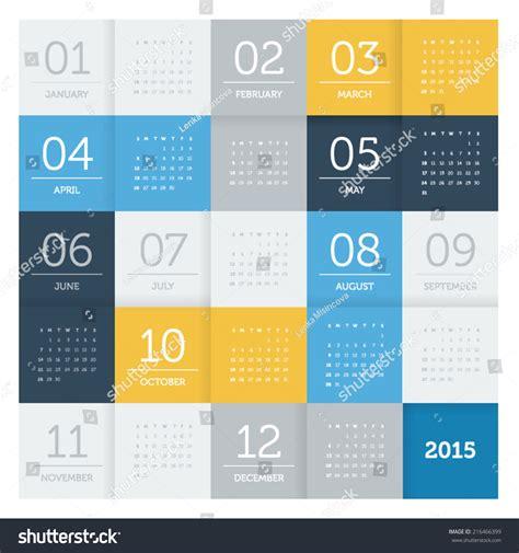 calendar 2015 square pattern flat color stock vector