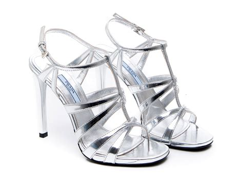 silver kid shoes prada high stiletto heels strappy sandals shoes in silver