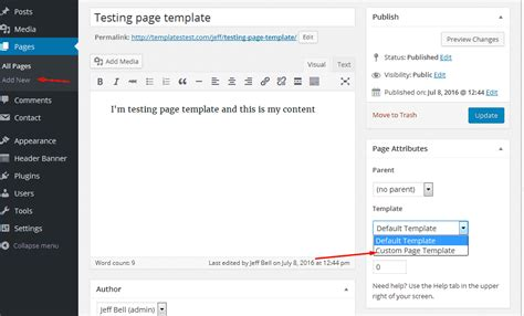 how to create a custom page template in wordpress 4 x