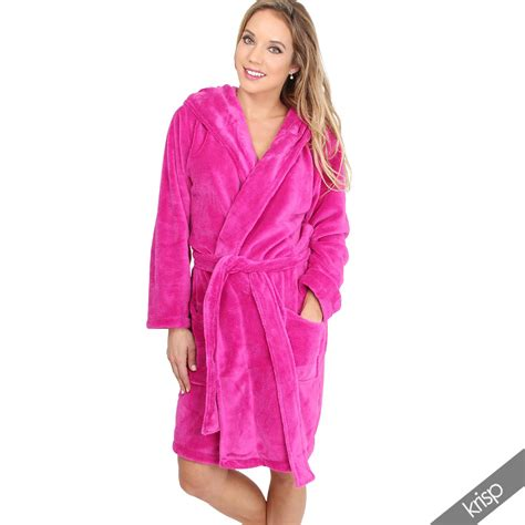 slippers and robe uk womens soft plain basic dressing gown hooded bath robe