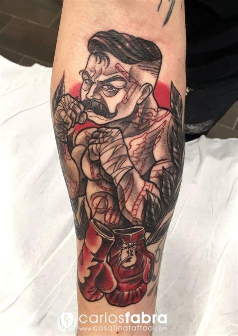 traditional boxer tattoo tatuaje boxeador guantes boxeo neotradicional neo
