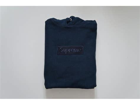 Hoodie Jket Supreme Navy supreme tonal box logo hoodie navy blue size large