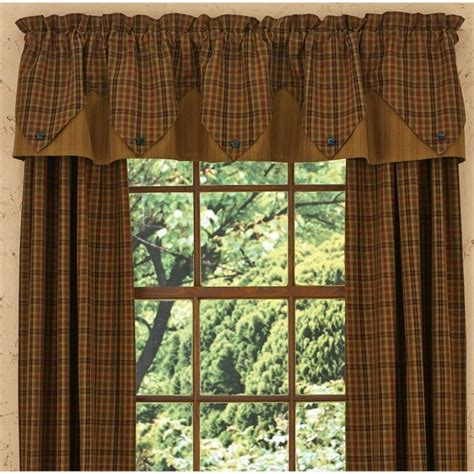 Red Plaid Curtains Primitive Spice Valance Point Country Village Shoppe