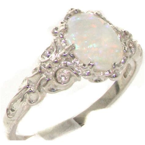 10k white gold opal womens solitaire ring sizes