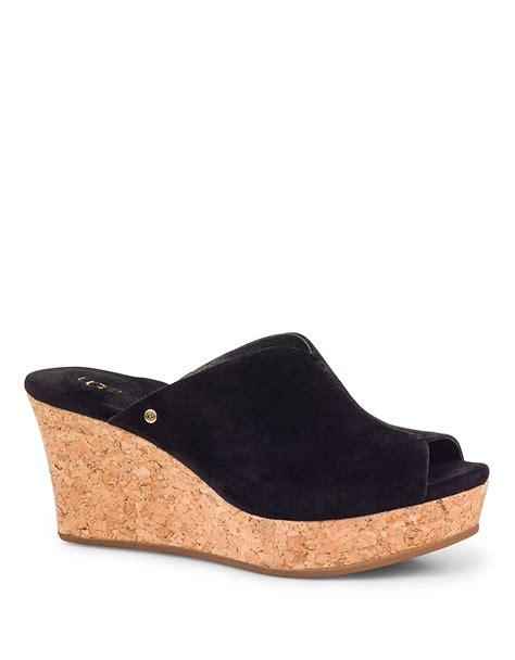 ugg wedge sandals ugg dominique suede wedge sandals in black lyst