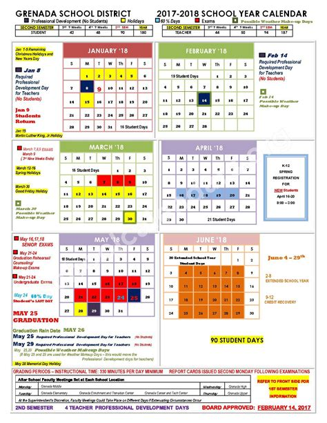 Grenada Calend 2018 Grenada School District Calendars Grenada Ms