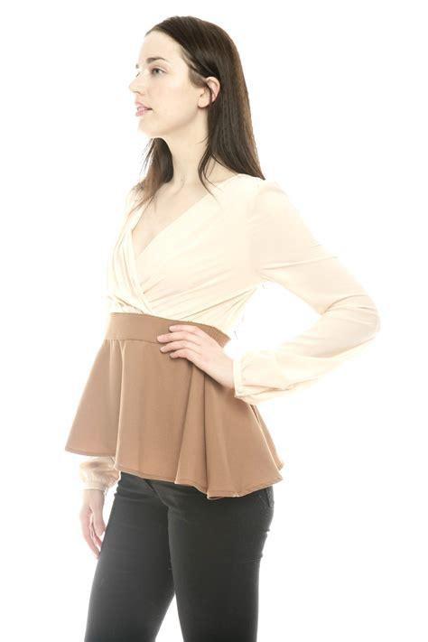Blouse Twotone j two tone vintage peplum blouse from lancaster by that shuu shoptiques