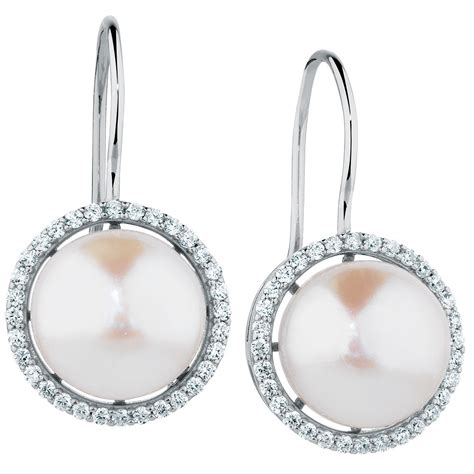 Sterling Silver Cubic Drop Ring drop earrings with cultured freshwater pearl cubic