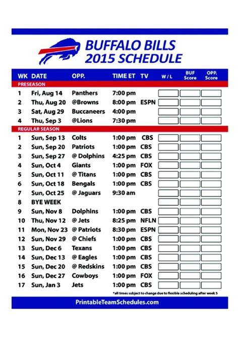 nfl giants schedule 2015 printable 25 best ideas about buffalo bills football schedule on