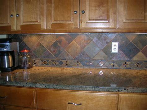 Slate Tile Kitchen Backsplash Wondrous Brown Wooden Kitchen Cabinetry System With Marble Countertop And Vintage