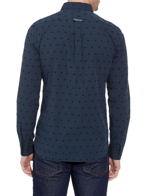 Buttondown Shirt Blue Polka Ls lacoste polka dot slim fit sleeve button shirt in blue for lyst