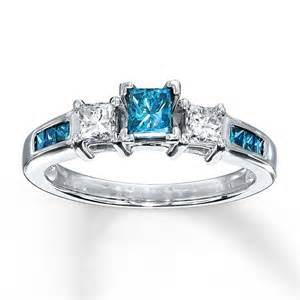 blue and white wedding rings princess cut blue sapphire and engagement ring in