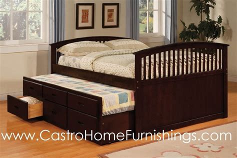 solid wood trundle bed full size captain bed dark walnut solid wood trundle drawers