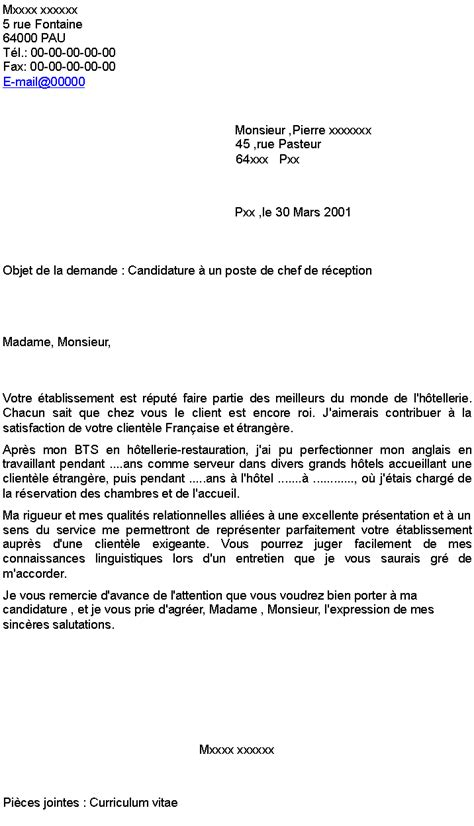 Lettre De Motivation Chef De Zone Candidature 224 Un Poste De Chef De R 233 Ception