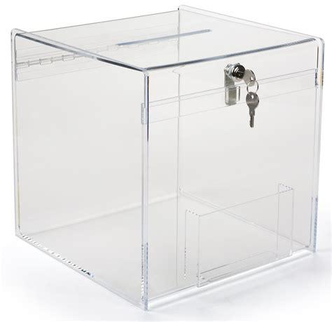 Acrylic Glass plexiglass donation box 12 inch cube with top slot key