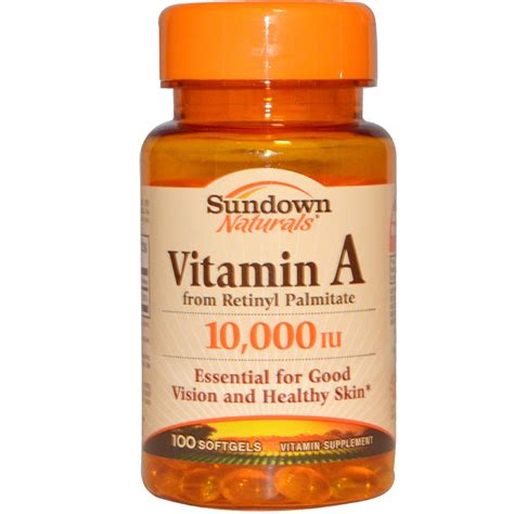 vitamin o supplement sundown naturals vitamin a 10 000 iu 100 softgels