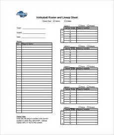 sample volleyball roster template 6 free documents