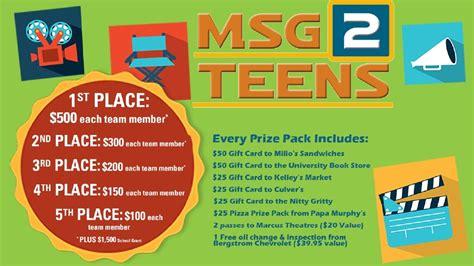 Teen Giveaways - msg 2 teens prizes wmsn
