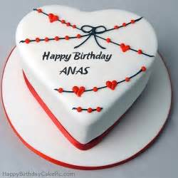 red white heart happy birthday cake for anas