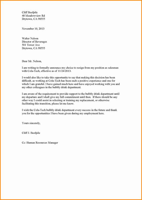 Resignation Letter Doc 9 Resignation Letter Sle Doc Model Resumed