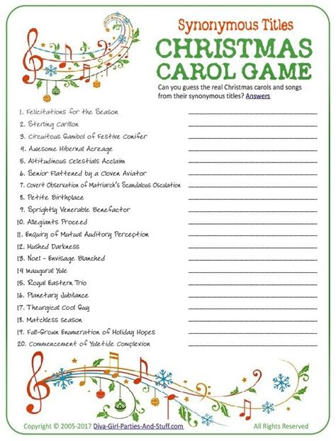 printable christmas song picture games christmas carol game