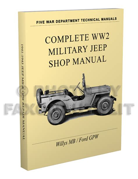 Jeep Manual 1941 1945 Willys Mb Ford Gpw Jeep Repair Shop