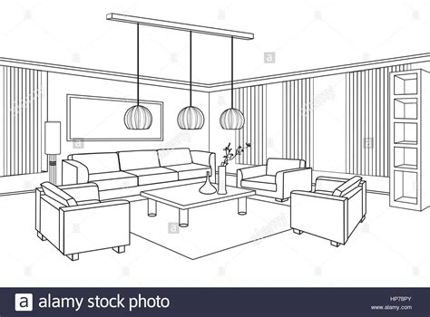 blueprint of a room living room view interior outline sketch furniture blueprint stock vector illustration