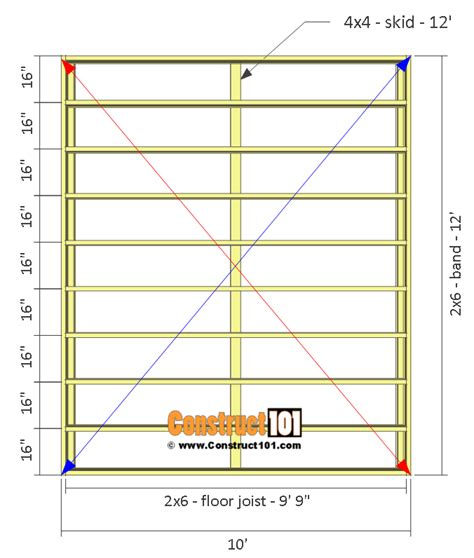 shed plans 10x12 gable shed step by step construct101 - 10 By 12 Shed Floor