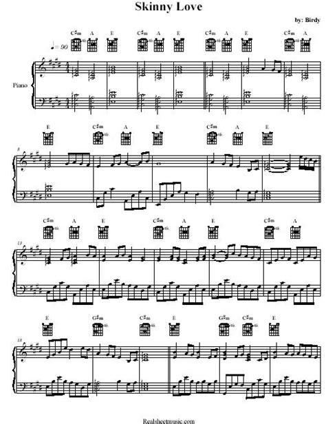 Skinny Love Chords Piano Birdy images