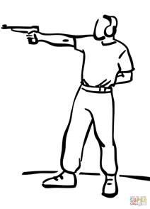 Shooting Coloring Page dibujo de tiro al blanco con pistola para colorear
