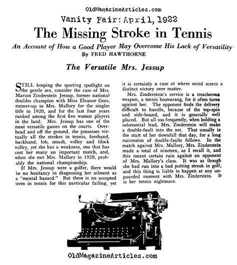 Vanity Fair Articles by Marion Jessup Tennis Ch 1922 Womens Tennis Player