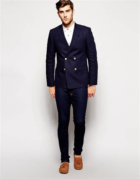 Breasted Slim Fit Blazer lyst asos slim fit breasted blazer with gold