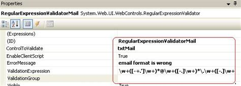 email format validation in asp net dotnet library asp net validation controls