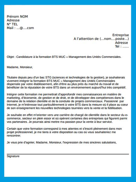 Lettre De Motivation Apb Type Lettre De Motivation Muc