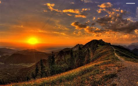 golden sunset mountains path wallpapers golden sunset