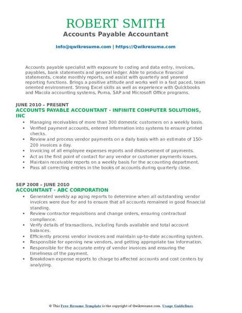 Accounts Payable Resume Pdf by Accounts Payable Accountant Resume Sles Qwikresume