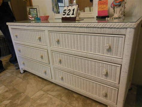 white wicker dresser with glass top 19x58x30 mirror 26x45