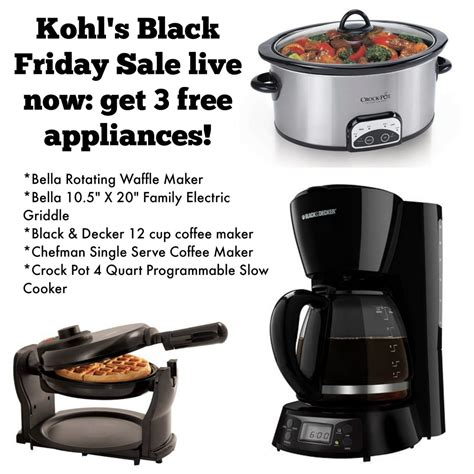 free kitchen appliances three free kitchen appliances after kohl s cash rebates